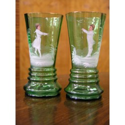 Skleněné poháry - pár - ručně malované - cca 1875